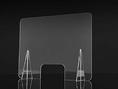 Mampara de protección transparente Fabricada en metacrilato de 2mm con soportes de 5mm. Medida agujero central: 30 cm. x 20 cm Protección para al personal de cara al público Fácil instalación y limpieza con alcohol 70%, lejía diluida en agua o limpia...
