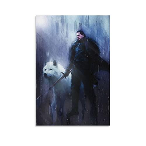 DFHRE Jon Snow The White Wolf Posters - Póster estético (50 x 75 cm)