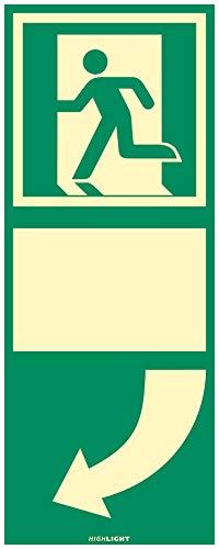 Türgriffhinterlegung langnachleuchtend linksweisend HIGHLIGHT160 PVC selbstklebend ausgerüstet Format: 25 x 10cm Leuchtdichte: HIGHLIGHT 160 mcd/m²