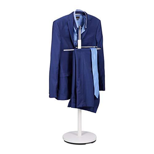 Relaxdays Herrendiener, Kleiderständer aus Holz und Metall, Kleiderbutler freistehend, HBT: ca 114 x 46 x 30 cm, weiß
