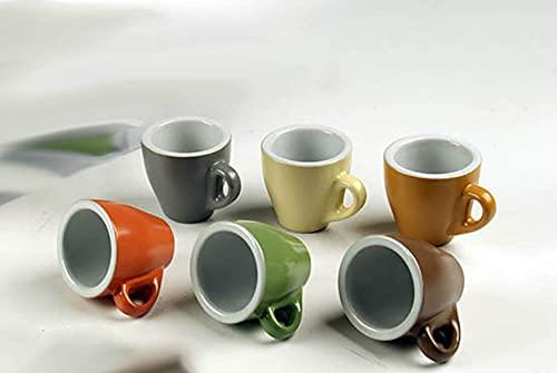 Kasahome Servizi da Caffè Set 6 Tazzine Doppie con manico Tazza Tazzina Caffe Kit Colazione 95 ML Colori assortiti