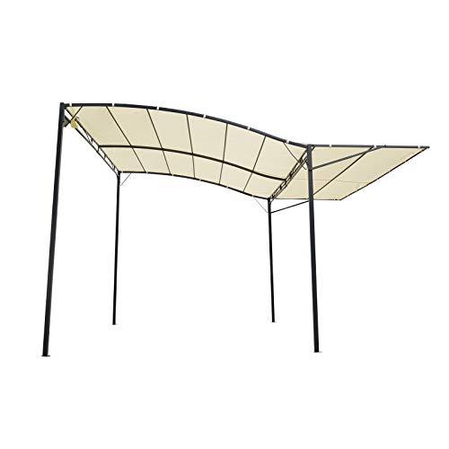 miozzi Pergola da Giardino 3x2.5m in Acciaio con Copertura in Tessuto Beige