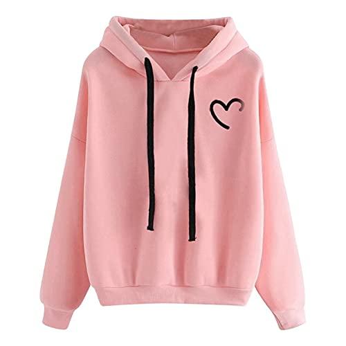 BIKETAFUWY Felpa con cappuccio per ragazze e ragazze, con cappuccio, patchwork, a maniche lunghe, con tasca, Colore: rosa., XL