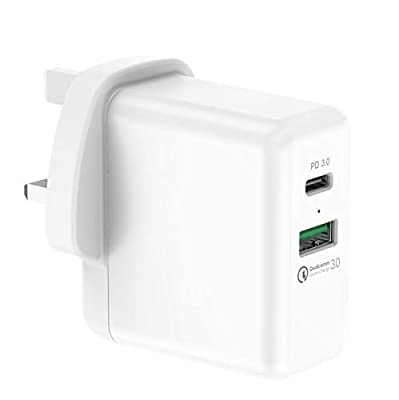 DHMXDC USB C Wall Charger, Main Charger Fast PD and QC, 36W Dual Port Plug Power Adapter compatible with iPhone 11 / iPhone 11 Pro/iPhone XS/XR, iPad, Galaxy Note 5/4, Macbook and More