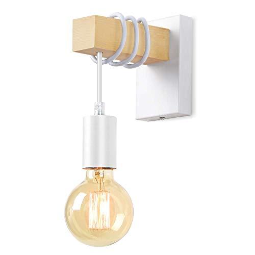 Lightess Applique Murale Industrielle en Bois Lampe Murale Vintage Eclairage Murale intérieur Rétro E27 Spot Mural pour Salon Chambre Salle à Manger Couloir Bar Blanc (sans ampoule)