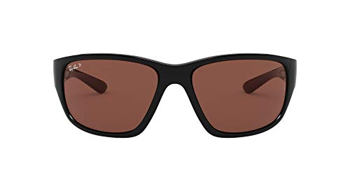 Ray-Ban RB4300 Square Sunglasses, Black/Polarized Purple, 63 mm