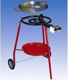Invierno–Conjunto de barbacoa gas Grabadora de paella Juego de barbacoa con ruedas con 2sartenes (42cm y 60cm) incl. Manguera de conexión y Reductor de presión