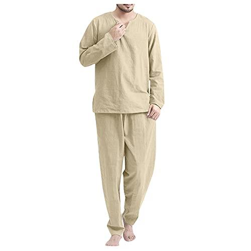Yowablo Pyjamas Langarm Hosen Set Herren Casual Solide V-Ausschnitt Lounge Zweiteiler ( XXL,khaki )