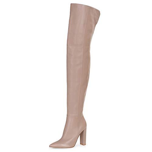 Kozaki damskie za kolano na obcasie, damskie buty w szpic z bocznym zamkiem błyskawicznym, damskie skórzane buty na grubym obcasie (Color : Flesh, Size : 42EU)