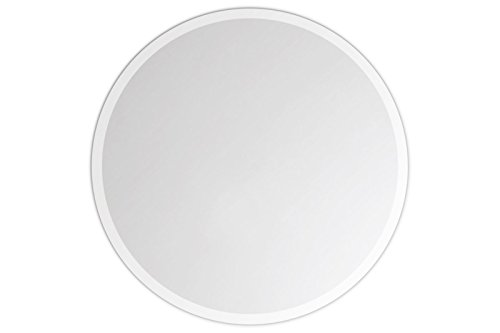 Lindner & Koch® - Espejo Mural/Espejo de Cristal Genuino: círculo Espejo Redondo, con Placa de Soporte, Bordes biselados, diámetro 30cm