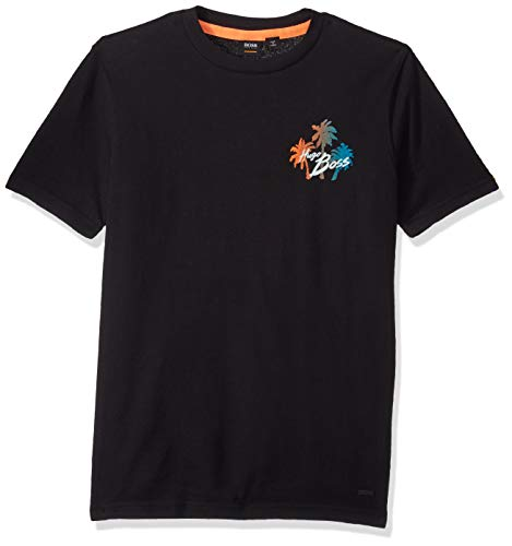 BOSS Orange Men's Short Sleeve Crewneck Printed Cotton T-Shirt, Black, S