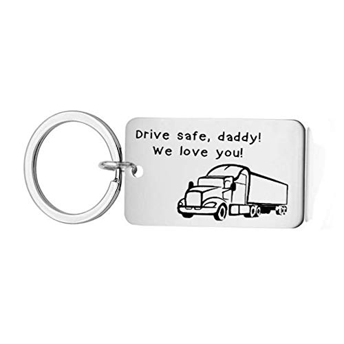 AmDxD Acero Inoxidable Llavero Hombre Original Drive Safe, Daddy! We Love You! Llavero Plata Llavero Retro Vintage
