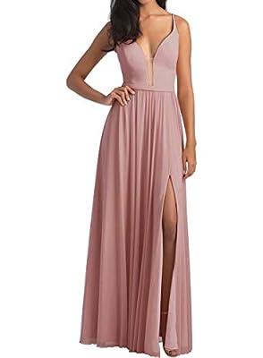 Chiffon Bridesmaid Dresses Dusty Rose Women Prom Dresses with Slit(Dusty Rose,12)