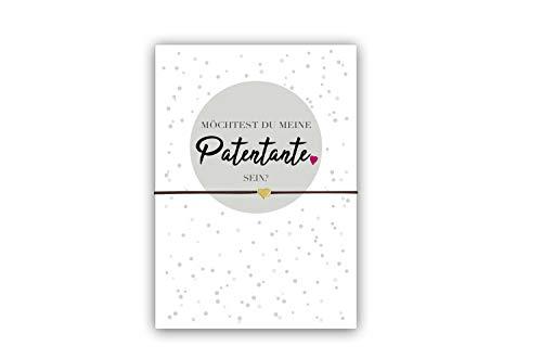 Geschenk für die Patentante - Freundschaftsarmband mit Herzanhänger und Karte