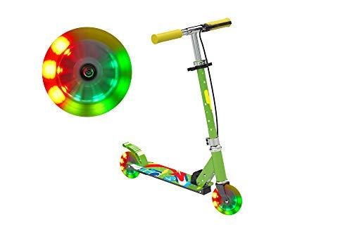 FA Sports - Velotouro Tretroller für Kinder, höhenverstellbar, mit LED-beleuchteten Rädern, Handbremse und patentiertem One-Klick-Mechanismus, für Jungen und Mädchen
