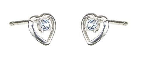 Bambini orecchini a forma di cuore con cristalli Swarovski blu