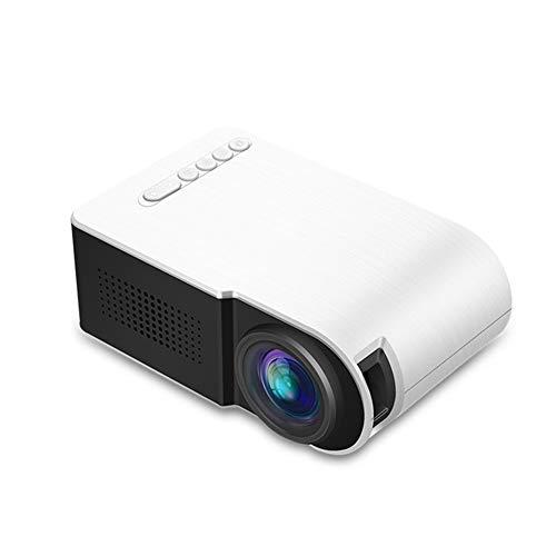 Mini proyector portátil proyector es Compatible con 1080p de Alta definición y Pantalla de 60 Pulgadas con USB/SD/HDMI/AV/VGA Interface y 1300mAh batería Adecuada para Cine en casa,Blanco