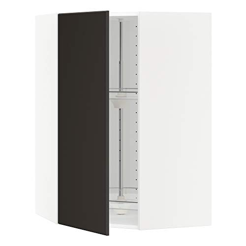 METOD hörnväggskåp med karusell 67,5 x 67,5 x 100 cm vit/Kungsbacka antracit