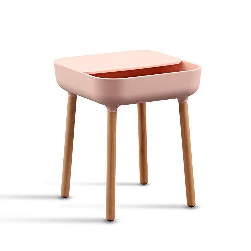 trand Mesa auxiliar de noche Lund | colores de moda | Diseño escandinavo | Bandeja y paso de cable | Madera / plástico | 40 x 40 cm | (rosa/rosa)