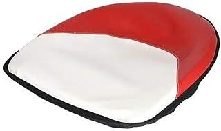 "Pan Seat 19"" Deluxe Cushion Vinyl Red & White Ford 2120 2110 6700 4140 4000 2310 4130 7600 2610 6600 4110 8N 4600 2600 4100 3000 5600 2000 3600 5000 International Massey Ferguson 35 50 20 65 30 135"
