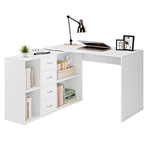 Mesa de Escritorio con Estantería Escritorio Esquinero Mesa con Estantes Laterales 4 estantes 4 cajones Mesa de Trabajo...