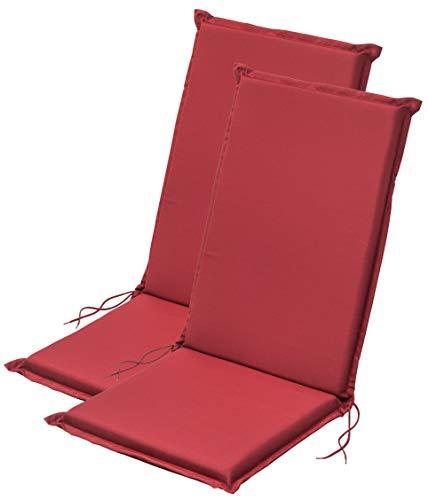 Traumnacht Komfort 2er Set Hochlehnerauflagen Outdoor rot, 120 x 50 x 6 cm