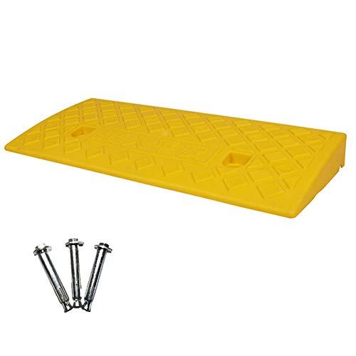 Alu Rollstuhlrampe,Bordsteinrampe Rampe,Tragbare PVC-Rampe, Skid Strukturierte Oberfläche, Reservierte Stanzposition, for Rasen / Bordstein / Schwelle Bai yin ( Color : Yellow , Size : 50x22x5cm )