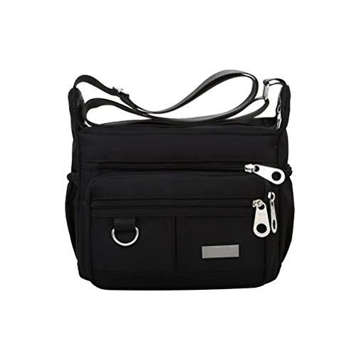 Bolsa feminina de ombro, transversal e bolsa de mão, com estilo casual simples, espaçosa e de tecido Oxford (preta)