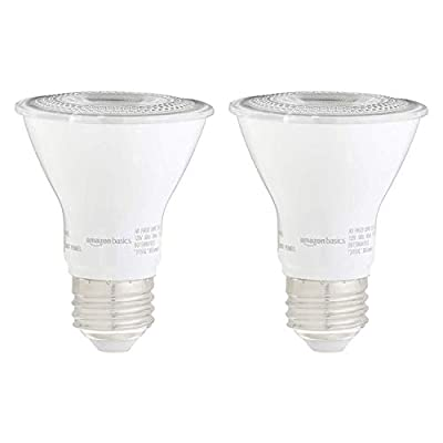 Amazon Basics 50W Equivalent, Daylight, Dimmable, 10,000 Hour Lifetime, PAR20 LED Light Bulb | 2-Pack