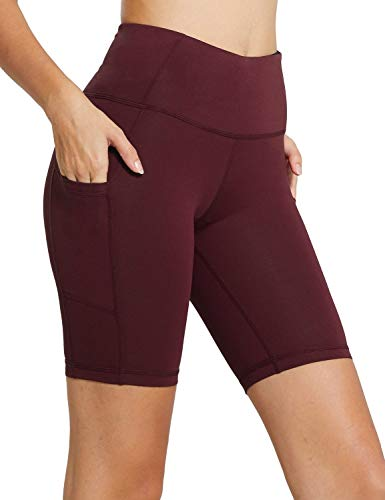BALEAF Women's 8' High Waist Biker Workout Yoga Running Compression Exercise Shorts Side Pockets Ruby Wine Size XL