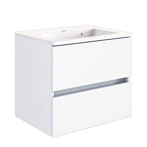 Pharao24 Schubladen Waschtisch in Weiß Einlass-Waschbecken