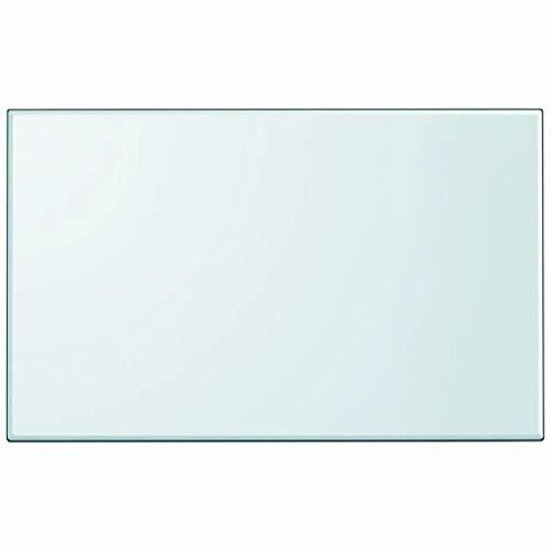 Ausla - Mesa rectangular de cristal templado, bandeja de mesa, mueble para mesas de comedor, mesas bajas, mesas de jardín, 1000 x 620 x 8 mm, transparente
