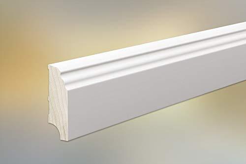 Handmuster Sockelleiste Massivholz weiß für Parkett und Massivholzdielen, Berliner/Hamburger/Bremer Profil, 60 x 20 mm, weiß (RAL 9016) lackiert, ab 6,22 €/lfm