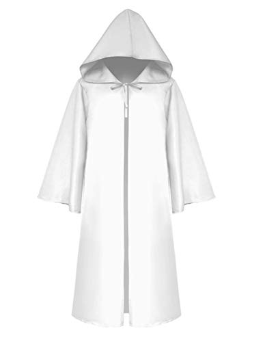 Angelaicos Unisex Tunic Robe Halloween Hooded Cosplay Costume Party Knight Cloak (XXL, White)
