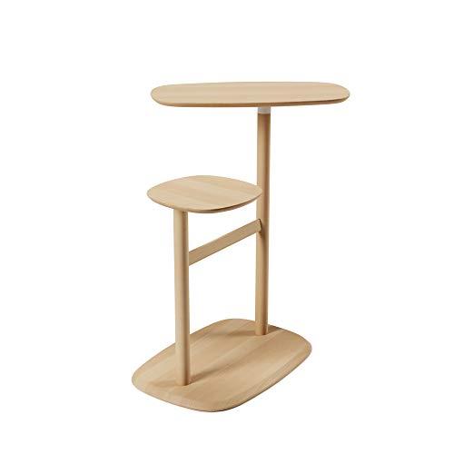 Umbra Swivo Beistelltisch und Nachttisch mit Zwei schwenkbaren Tischplatten und Ablagestange für Magazine und Decken aus Birkenholz, Natur, One-Size