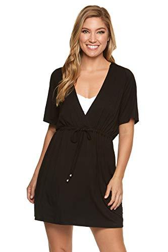 Dotti Resort Solids Raglan Hoodie Dress Cover-Up Black MD