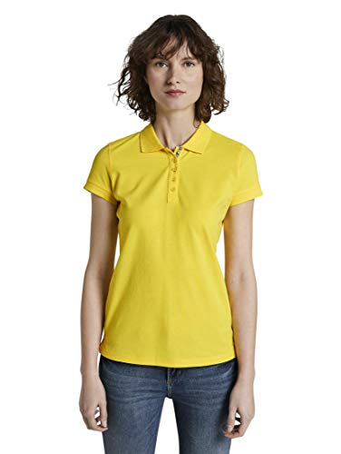 TOM TAILOR Damen Poloshirts Strukturiertes Polo-Shirt Jasmine Yellow,XL,21175,3000