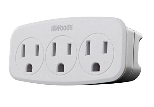 Woods 41013 Wall Adapter with 3 Grounded Power Outlets, WHITE