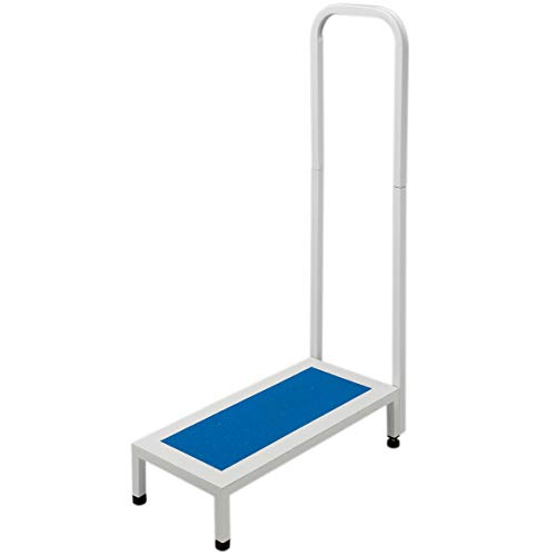"""Easy Comforts Support Step Stool with Handle for Adults and Seniors, Durable Steel Construction, Stable Support for Bath Tub, Kitchen Shelving, Hospital Bed, 21 ¼"""" x 34 ¼"""", Blue/White"""