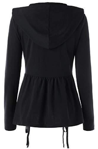 『Sodossny-JP 女性フード付きフロントジップパンクゴシックカジュアルレースアップスウェットシャツコート Black S』の1枚目の画像
