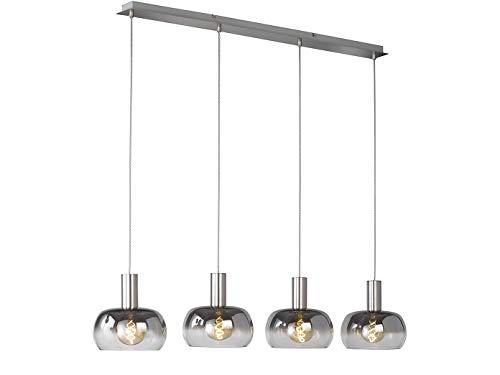 Dimmbare LED Pendelleuchte 4 flammig mit Glasschirmen aus Rauchglas, Designer Hängelampe