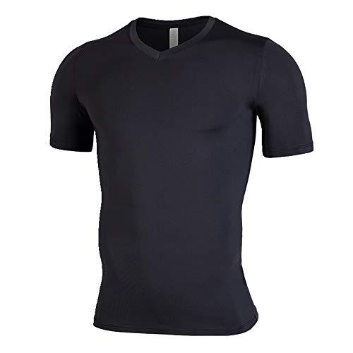 NOBRAND New Fitness Suit Herren Elastisch Schnell Trocknend Kurzarm T-Shirt Sommer Gr. 56, Schwarz
