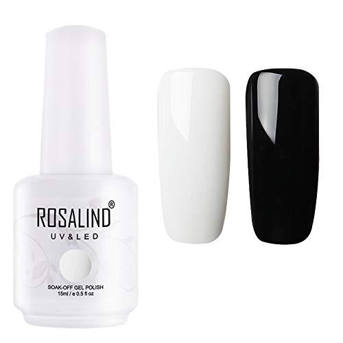 ROSALIND Gellack UV Schwarz und Weiß Set Anfänger 15ml Große Kapazität Langlebig Soak Off Semi-permanent Nagellack Starter Kit