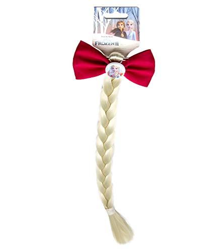 Disney Frozen 19387 2-Haarspange mit Schleife aus glitzerndem Stoff und langem, blonden Zopf, Mehrfarbig