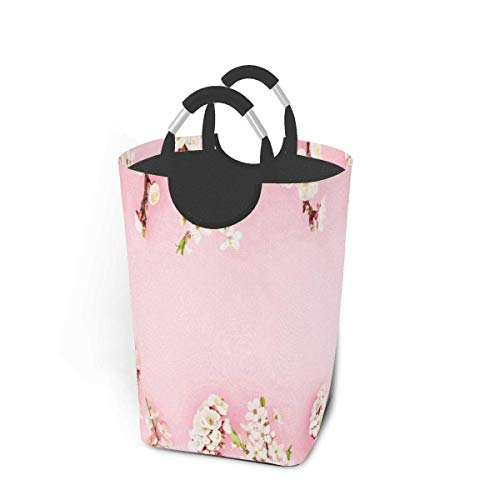Cestas de lavandería plegables, cesto de ropa sucia, flores especiales de primavera rosa, cesto de lavandería plegable con asas de metal, tela de cesto de lavandería plegable para dormitorio p