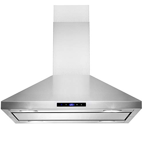 "AKDY Island Mount Range Hood –30"" Stainless-Steel Hood Fan for Kitchen – 3-Speed Professional Quiet Motor – Premium Touch Control Panel – Minimalist Design – Mesh Filters & LED Lights"