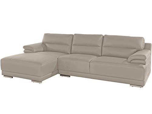Loft 24 A/S Ecksofas Polsterecke Eck-Couch Sofa mit Kissen Schlafsofa Modern L-Form Couch (beigegrau, Natur Leder, Recamiere Links)
