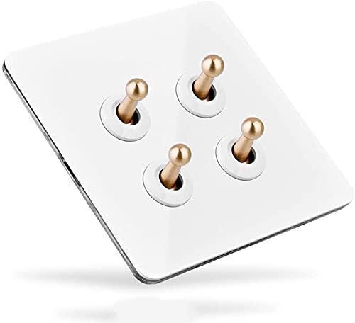 interruptor wifi Interruptor de la luz de la pared retro interruptor hecho a mano barra de metal de latón 1-4 GANGS Lámpara de control doble única para el interruptor de la palanca de la casa interior