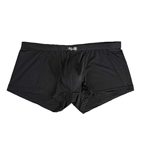 Allegorly Herren Nylon Boxer Boxershorts Unterwäsche Soft Atmungsaktiv Brief gedruckt Slips Sport Unterhose Retroshorts Sexy mesh Tanga Konvexe Briefs für Männer