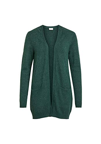 Vila Clothes Damen VIRIL L/S Open Knit Cardigan-NOOS Strickjacke, Total Eclipse (Melange), Small (Herstellergröße: S)